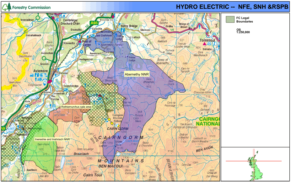 Map showing Rothiemurchus Forest