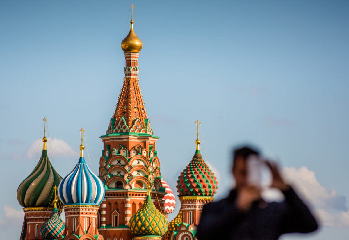 Selfie time at St. Basil's Cathedral in Red Square as Moscow prepares for an onslaught of tourists for the World Cup.