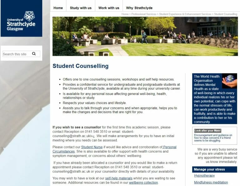 Strathclyde University's student counselling homepage