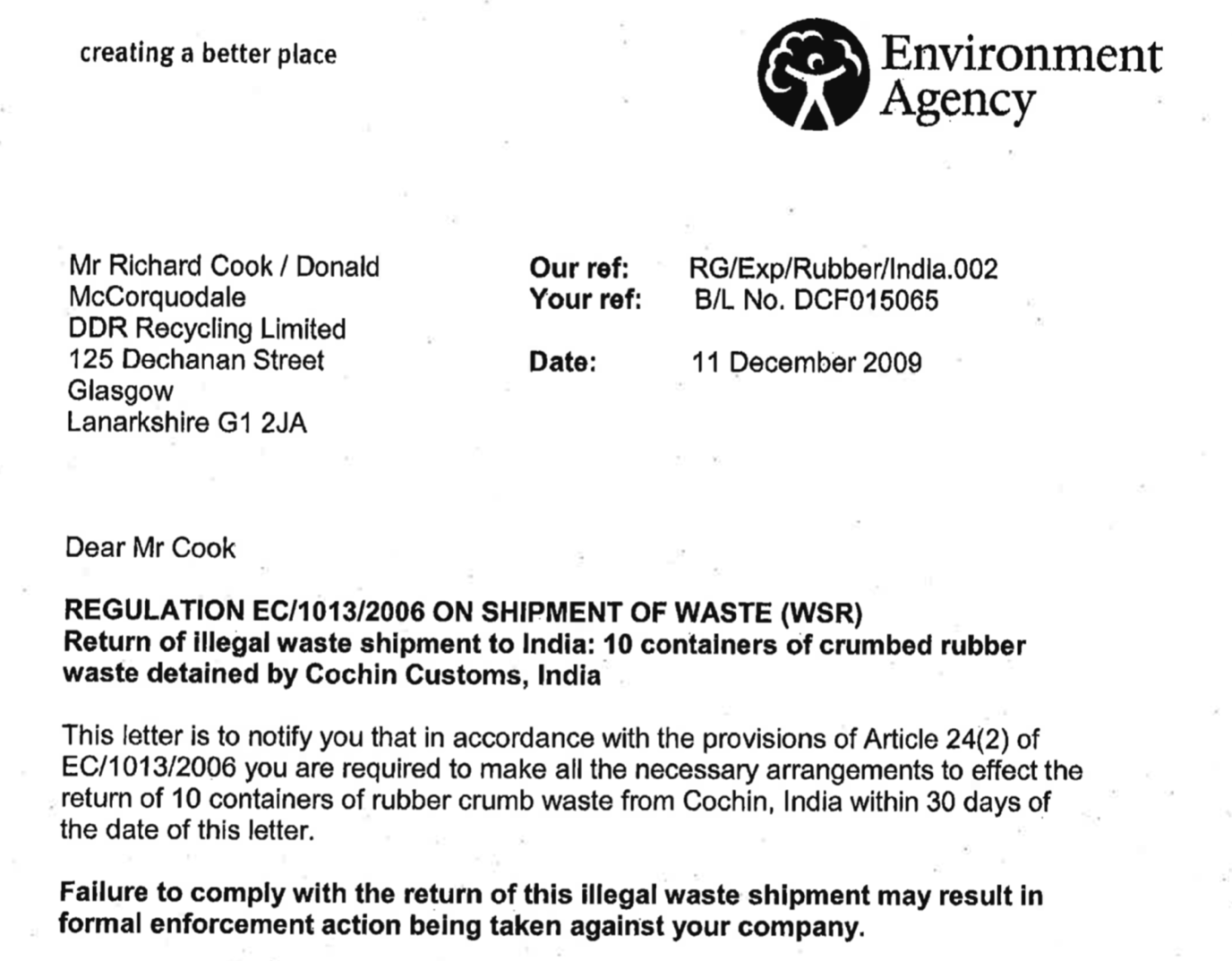 Environment Agency Letter to Richard Cook