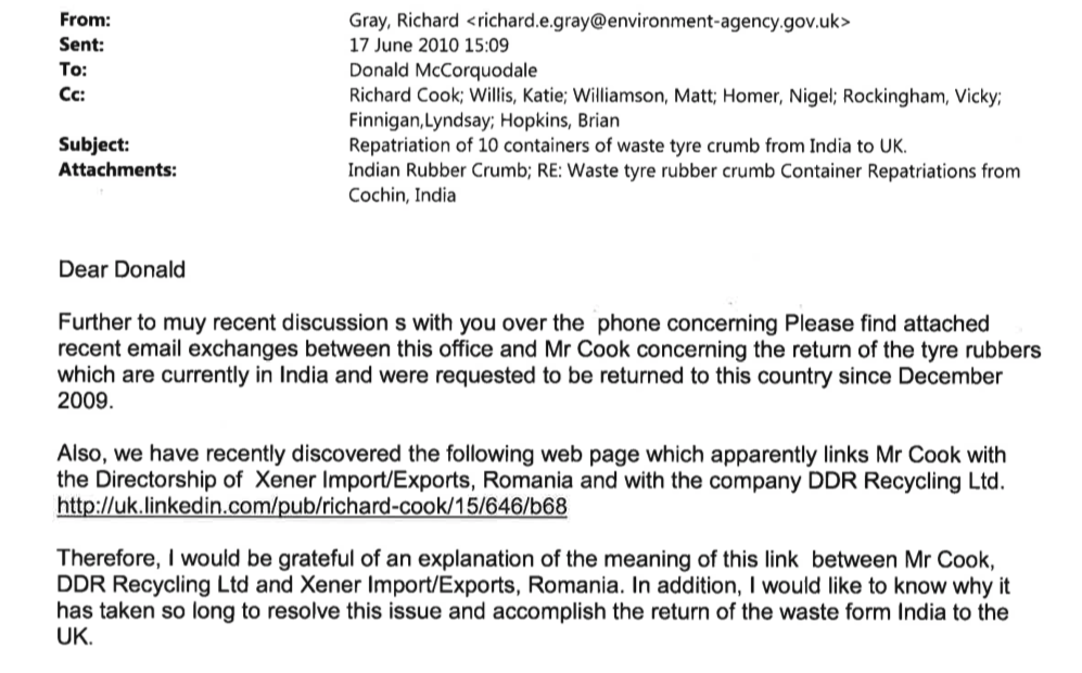 Environment Agency email to Richard Cook