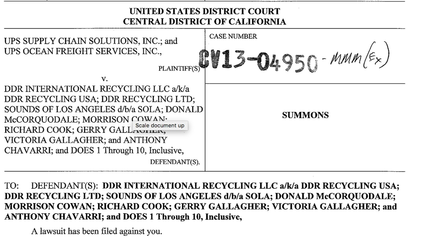 Court document naming Richard Cook